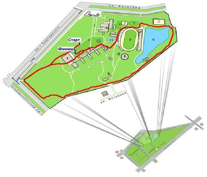 Схема маршрута забега: